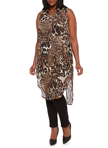Plus Size Animal Print Tunic Top,BROWN,large