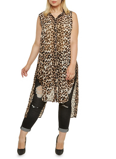 Plus Size Sleeveless Duster Top in Animal Print,BROWN,large