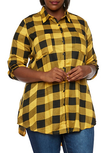 Plus Size Check Tunic Top with High Back Slit,MUSTARD,large