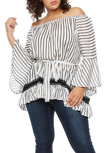 Plus Size Striped Off the Shoulder Peasant Top,WHT-BLK,large