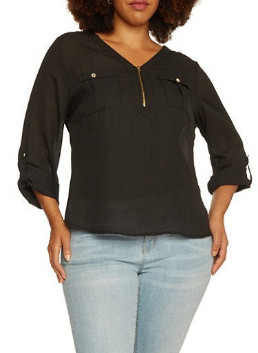 Plus Size Crepe Top with Zipper Neckline,BLACK,large