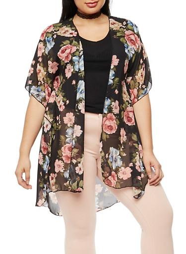 Plus Size Floral Chiffon Kimono,BLACK,large