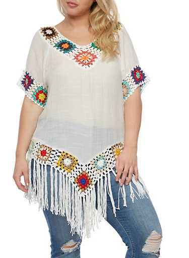Plus Size Short Sleeve Top with Crochet and Fringe,WHITE,large
