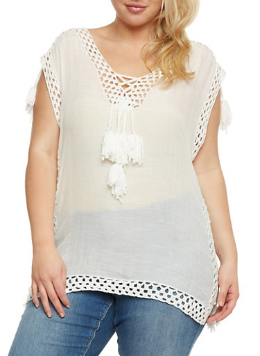 Plus Size Sleeveless Top with Tassels and Crochet Detail,WHITE,large