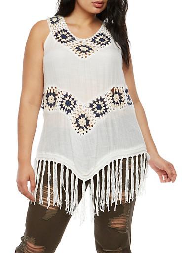 Plus Size 2 Tone Crochet Fringe Sleeveless Top,WHITE/BLUE NAVY,large