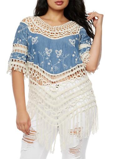 Plus Size Denim Crochet Top,BLUE DENIM,large