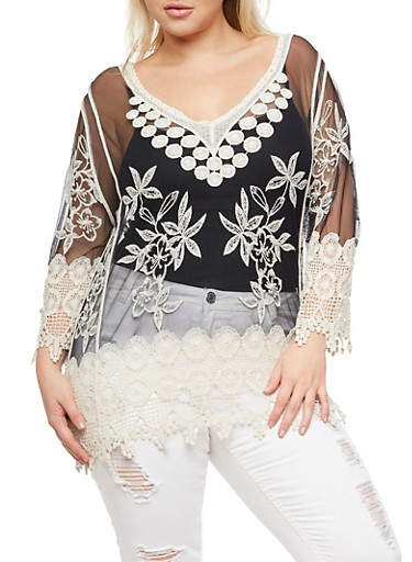 Plus Size Embroidered Mesh and Crochet Top,BLACK,large