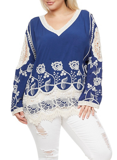 Plus Size Embroidered Crochet Trim Top,NAVY,large