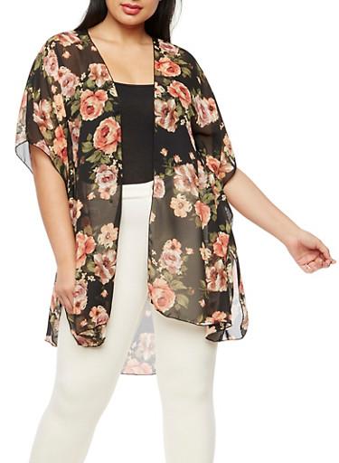 Plus Size Floral Chiffon Kimono,CORAL/BLK  FS 097,large