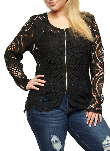 Plus Size Crochet Zip Front Jacket,BLACK,large