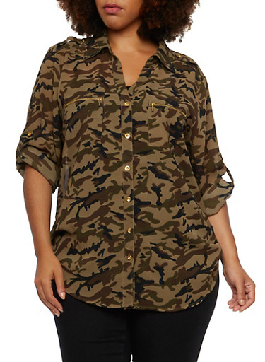 Plus Size Camo Button Up Top,GREEN  978,large