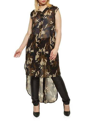 Plus Size Camo Tunic Top with High Low Hem,GREEN,large