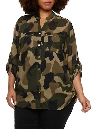 Plus Size Semi Sheer Button Up Top,GREEN  968,large