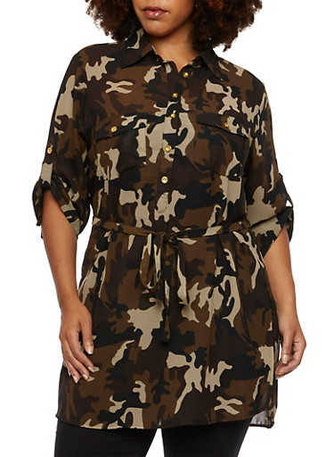 Plus Size Sheer Camo Button Front Tunic Top,CAMOUFLAGE,large