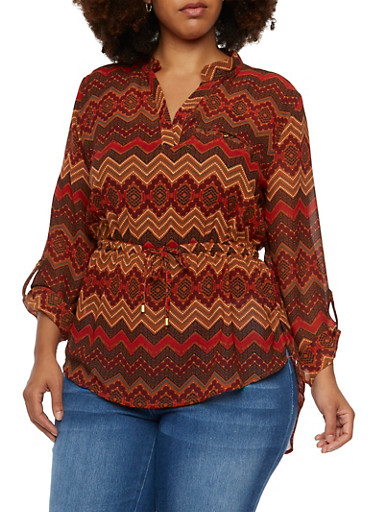 Plus Size Aztec Print Blouse with Split Neck and Cinch Waist,RED,large