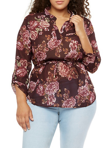 Plus Size Floral Cinched Waist Top with Tabbed Sleeves,WINE (PLUM),large