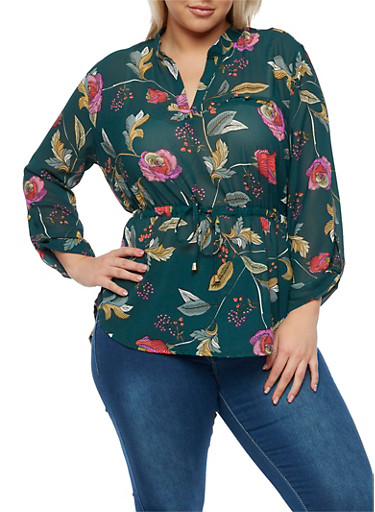 Plus Size Floral Top with Cinched Waist and Tab Sleeves,HUNTER,large