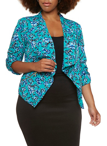 Plus Size Printed Blazer with Draped Front,GREEN,large