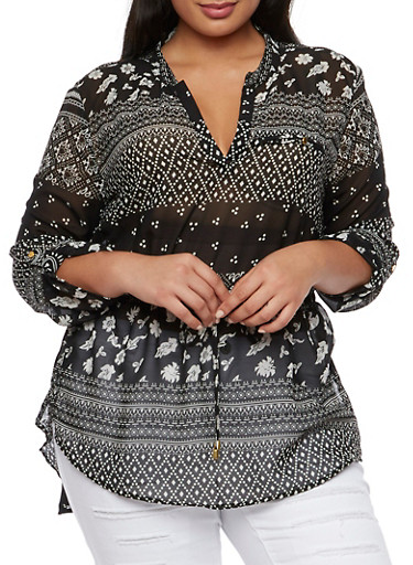 Plus Size Sheer Tunic Top with Drawstring Waist and Mixed Print,IVORY/BLK #RB20,large