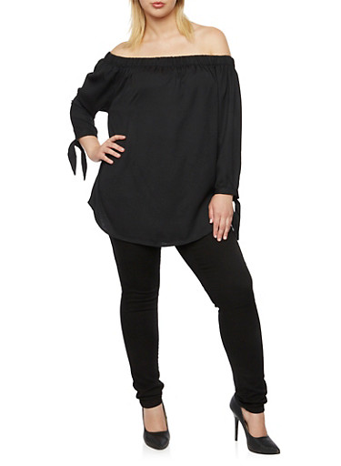 Plus Size Off the Shoulder Top with Tie Sleeves,BLACK,large