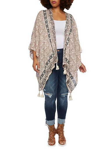 Plus Size Kimono with Tassel Trim,NATURAL,large