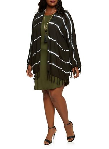 Plus Size Kimono with Tie Dye Stripes,BLACK,large