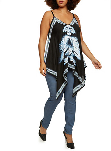 Plus Size Printed Tank Top with Asymmetrical Hem,BLACK,large
