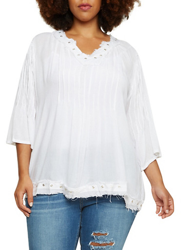 Plus Size Frayed Grommet Neck Top,WHITE,large