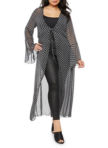 Plus Size Printed Maxi Kimono with Tie Waist,BLACK/WHITE,large