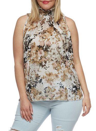 Plus Size Smocked Neck Floral Tank Top,TAUPE/GREY MID THRUST 503,large