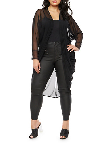 Plus Size Mesh Duster,BLACK,large