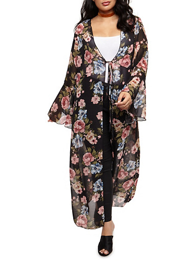 Plus Size Floral Maxi Kimono with Tie Waist,BLACK/CORAL   60563,large