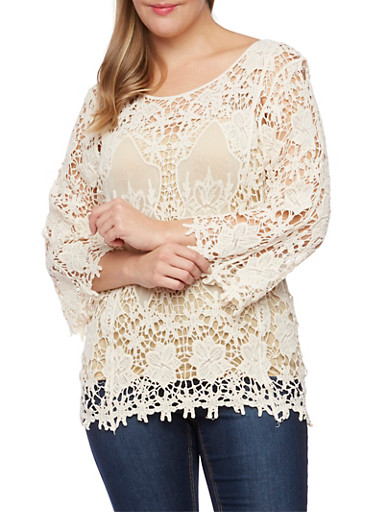 Plus Size Long Sleeve Crochet Top with Mesh Insets,NATURAL,large
