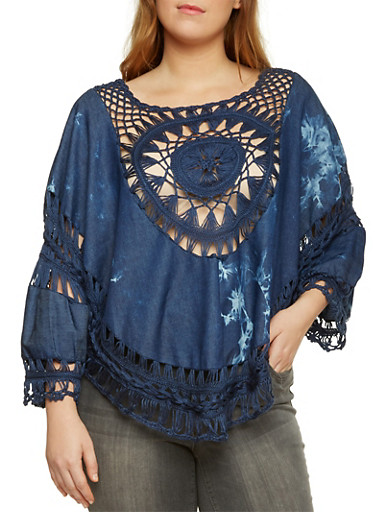 Plus Size Chambray Top with Crochet Accent,NAVY,large