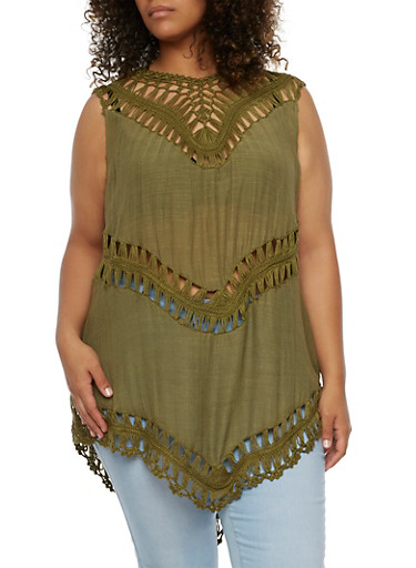 Plus Size Tank Top with Crochet Paneling,OLIVE,large
