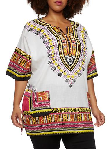 Plus Size Dashiki Print Top and Hat,WHITE,large