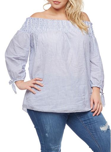 Plus Size Smocked Off the Shoulder Striped Top,BLUE,large