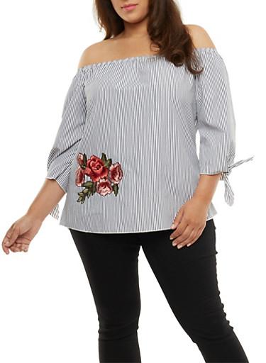 Plus Size Striped Off the Shoulder Floral Applique Top,GRAY,large