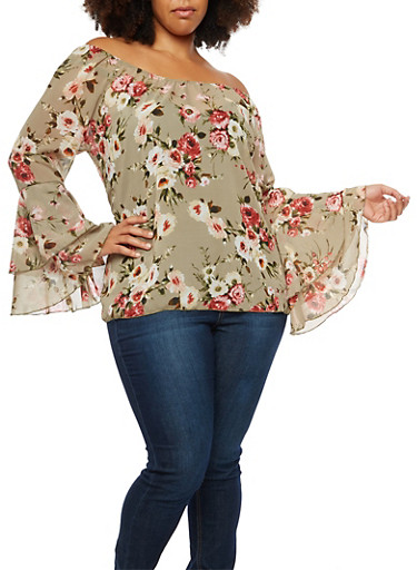 Plus Size Off the Shoulder Printed Top with Bell Sleeves at Rainbow Shops in Daytona Beach, FL | Tuggl
