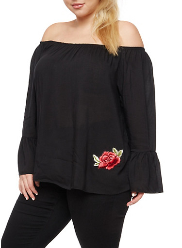 Plus Size Rose Patch Off the Shoulder Top at Rainbow Shops in Daytona Beach, FL | Tuggl