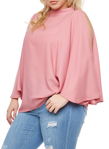 Plus Size Cold Shoulder Blouse with Tank Top Insert,ROSE  DUSTY PINK,large