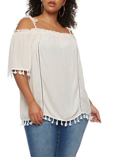 Plus Size Off the Shoulder Top with Crochet Tassel Trim,BLUSH CHAMPAGNE,large