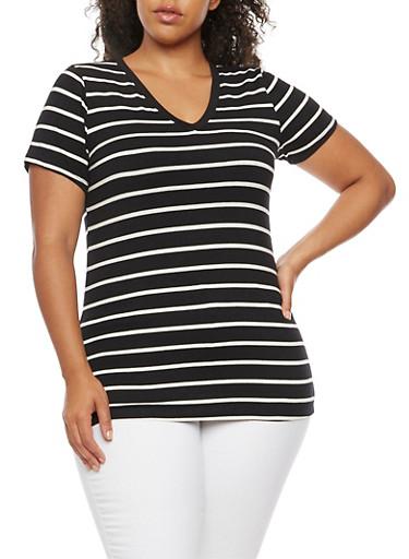Plus Size Striped V Neck T Shirt,BLACK/WHITE,large