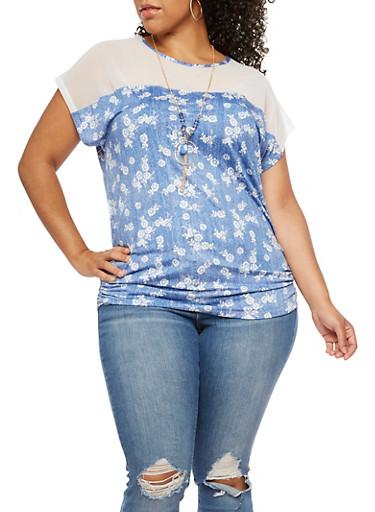 Plus Size Floral Mesh Short Sleeve Top,DENIM,large