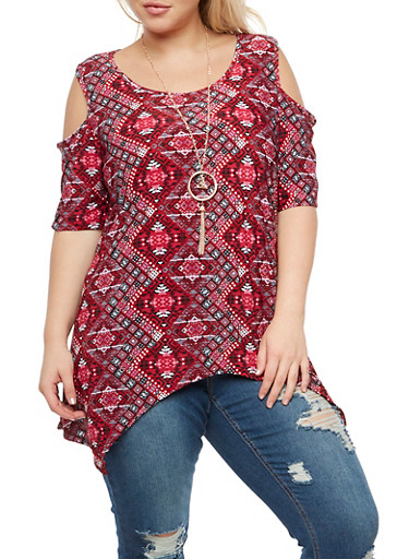 Plus Size Cold Shoulder Top with Necklace,RED,large