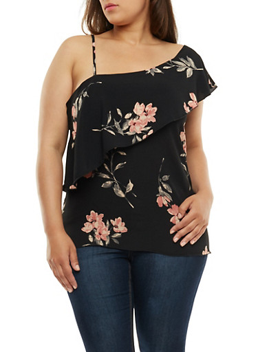 Plus Size Floral One Shoulder Overlay Top,BLACK,large