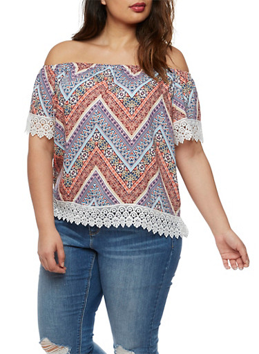 Plus Size Printed Off the Shoulder Top with Crochet Trim,MULTI COLOR,large