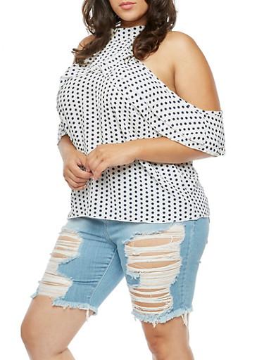Plus Size Polka Dot Cold Shoulder Top,IVORY,large