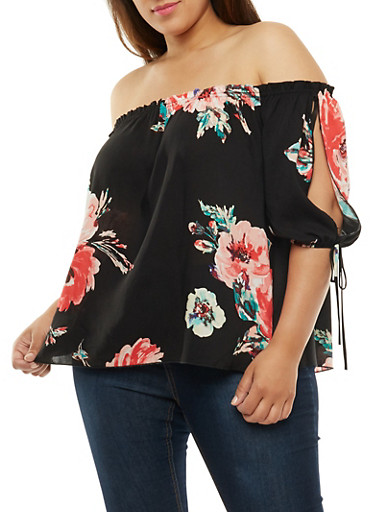 Plus Size Off the Shoulder Floral Print Top at Rainbow Shops in Daytona Beach, FL | Tuggl