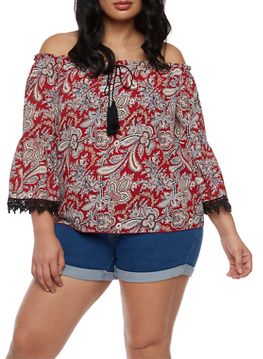 Plus Size Printed Off the Shoulder Top with Crochet Trim,RED/TAUPE,large